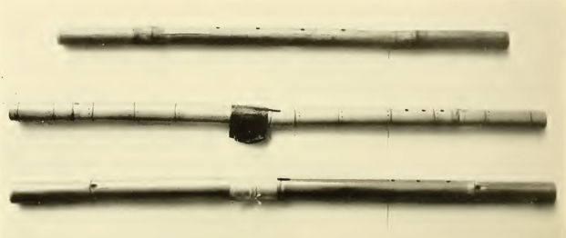 Yuma Transverse and Vertical Flutes from [Densmore 1932] Plate 25