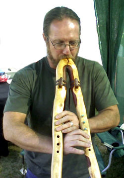 Jon Sherman playing a double branch flute