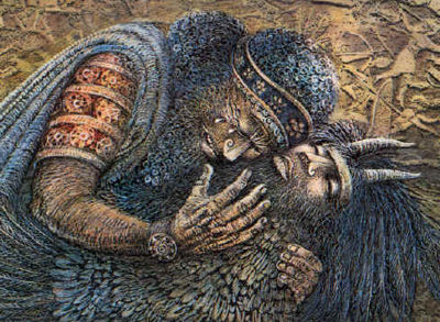 Gilgamesh mourning Enkidu - from The Revenge of Ishtar ©1993 by Ludmila Zeman