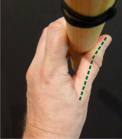 Relaxed thumb position with a cradled grip