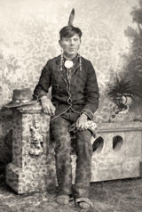 Studio portrait of Jasper Blowsnake by Charles Van Schaick, Black River Falls, Wisconsin