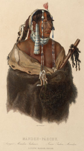 Portrait of Màndeh-Pàhchu with a Native American Flute