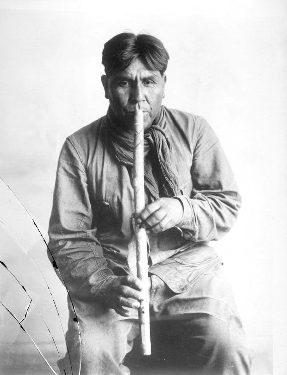 Cipriano Garcia Playing a Papgo Flute 1919