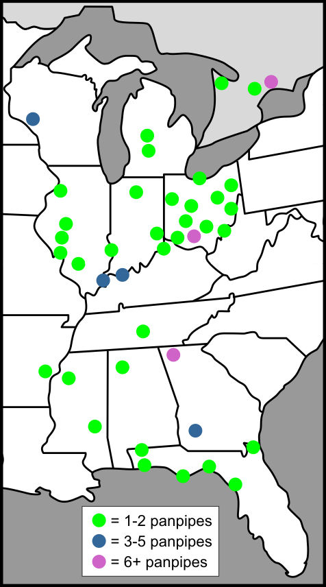 Distribution of Hopewell  Panpipes