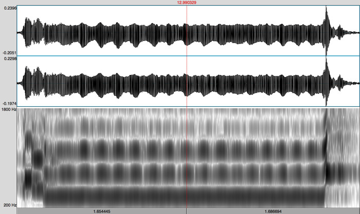 Spectrogram of a vibrato-induced Pseudo-warble by Barry Higgins: Timothy Archambault playing Kichesipirini Memory Song
