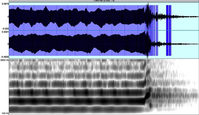 Spectrogram of a recording by Barry Higgins: Clint Goss playing Zuni Sunrise on a Doc Payne Toubat flute
