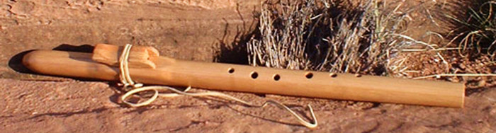 "Flute by Trent R. Logan showing offset finger holes designed for a ""left hand on the bottom"" orientation"
