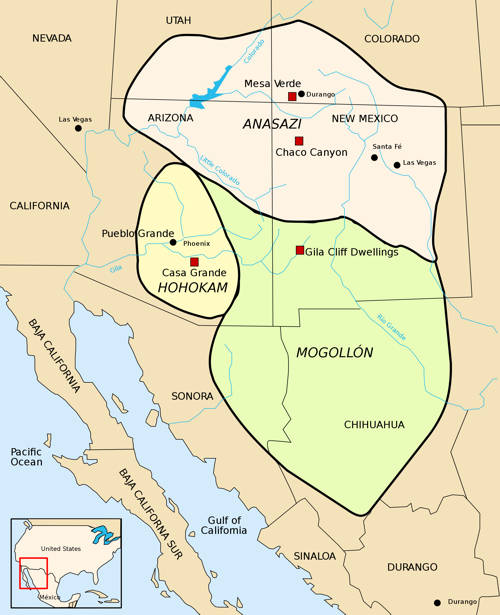 Historical Extent of Anazasi, Hohokam, and Mogollon Settlements