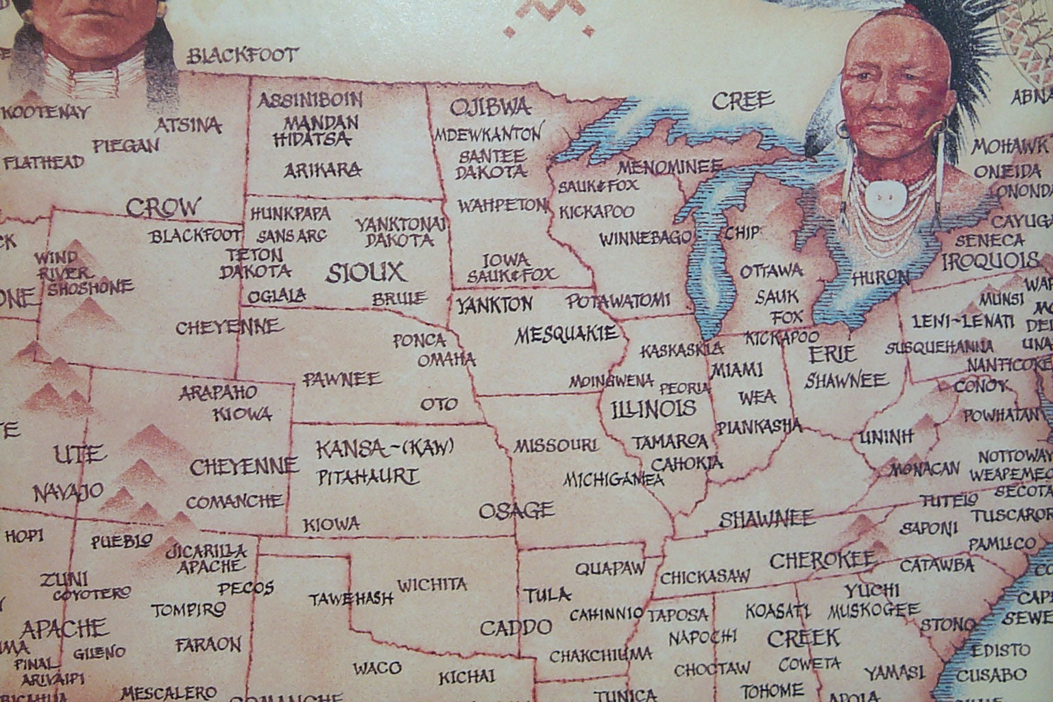 Native American Indian Tribal Map - North Central