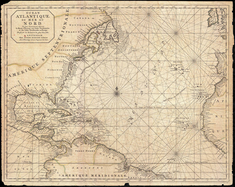 Chart of the Atlantic Ocean and the North Sea, by Pierre Mortier, 1693
