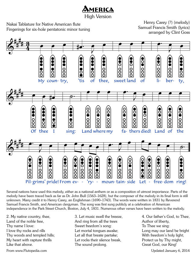 America - High Version - Six-hole Pentatonic Minor