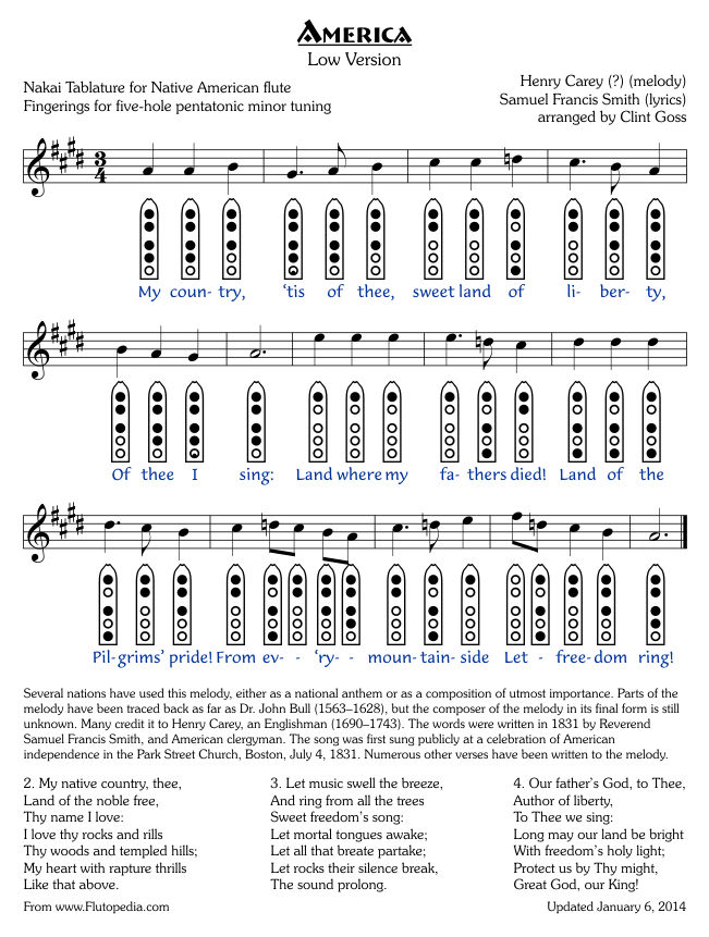 America - Low Version - Five-hole Pentatonic Minor