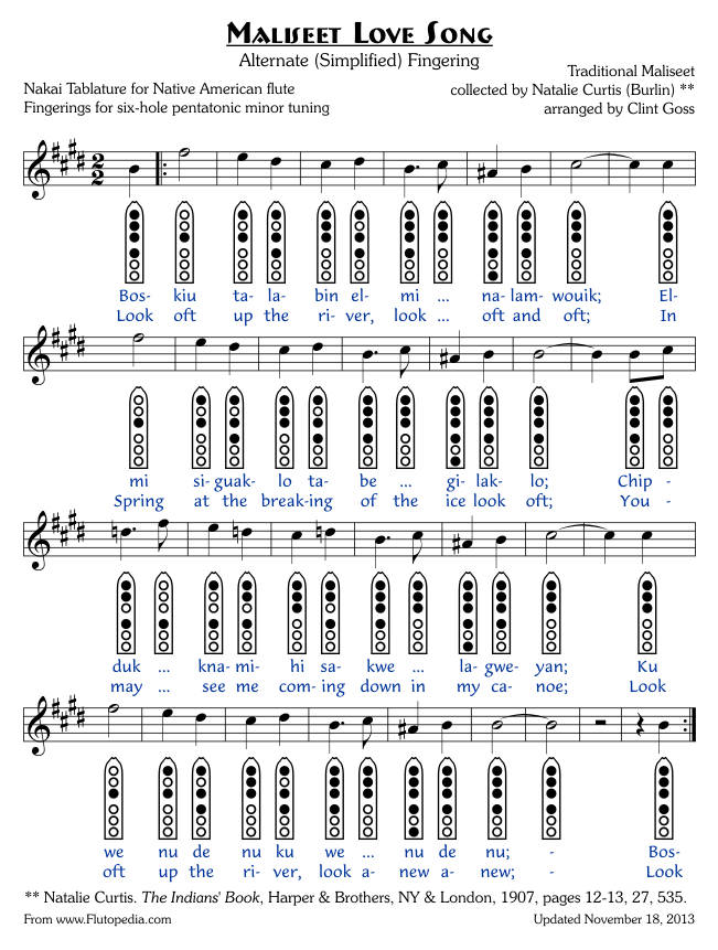 Maliseet Love Song - Six-hole Pentatonic Minor Tuned Flutes (Alternate Fingering)