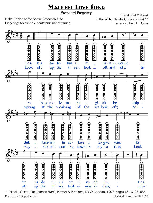 Maliseet Love Song - Six-hole Pentatonic Minor Tuned Flutes (Standard Fingering)