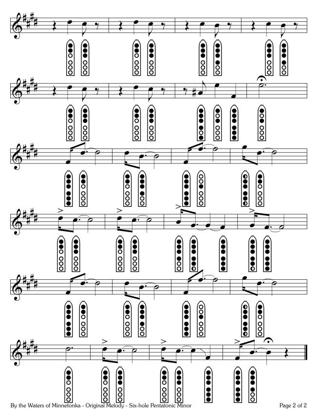 By the Shores of Minnetonka - Original Melody - six-hole Pentatonic Minor