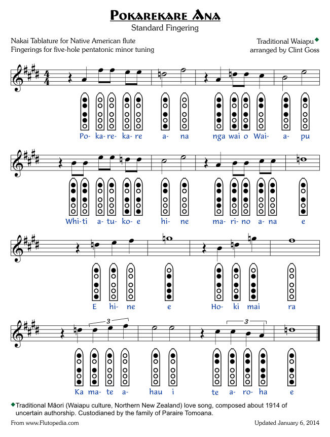 Pokarekare Ana - Standard Fingerings - Five-hole Pentatonic Minor