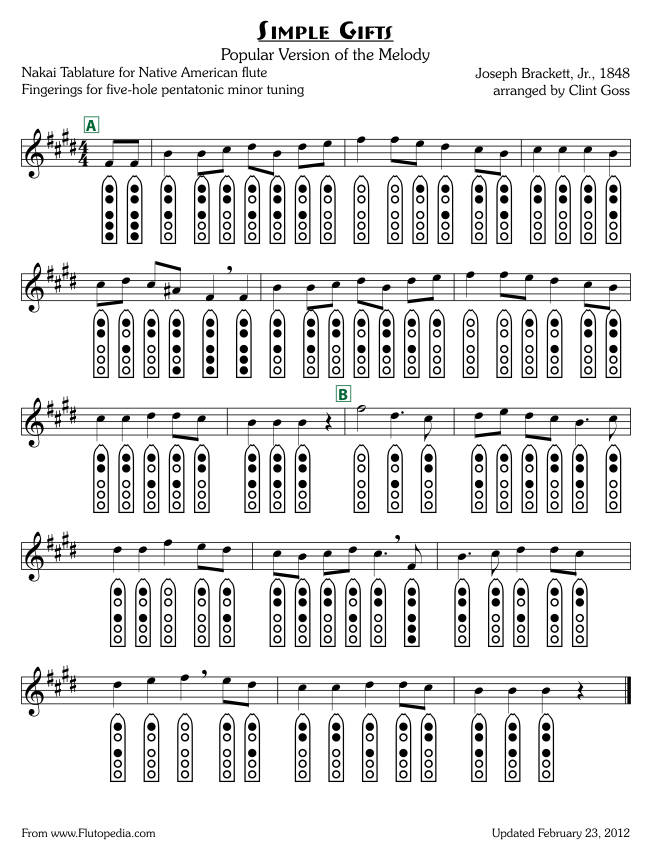 Simple Gifts - Popular Arrangement - five-hole Pentatonic Minor