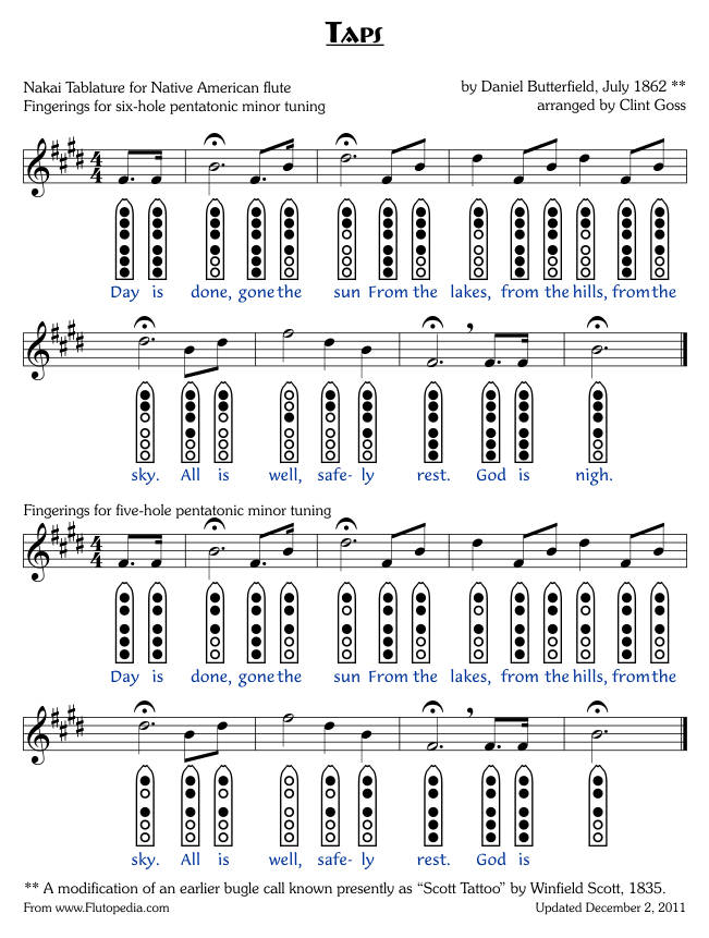 Taps - six-hole and five-hole Pentatonic Minor
