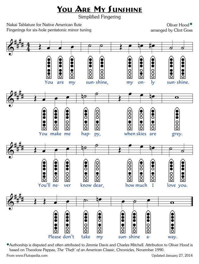 You Are My Sunshine - Simplified Fingerings - Six-hole Pentatonic Minor