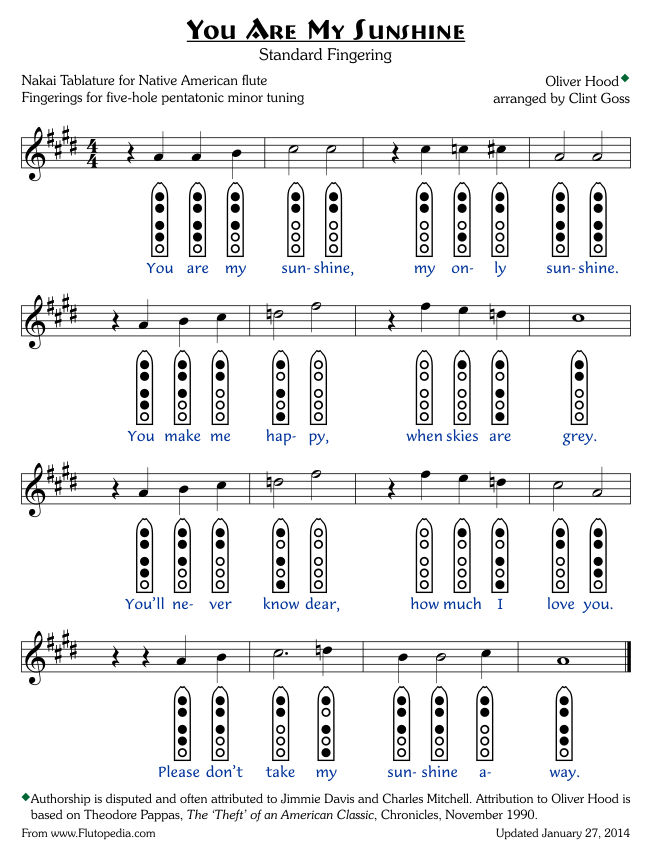You Are My Sunshine - Standard Fingerings - Five-hole Pentatonic Minor