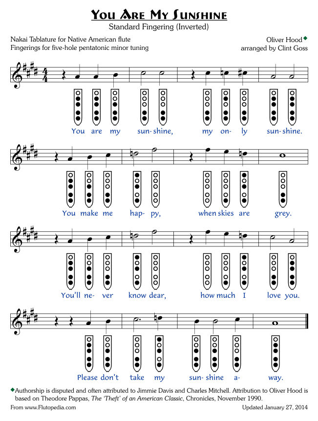 You Are My Sunshine - Standard Fingerings - Five-hole Pentatonic Minor (Inverted Fingerings)