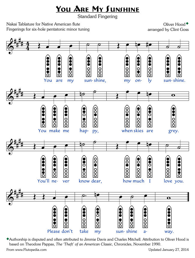 You Are My Sunshine - Standard Fingerings - Six-hole Pentatonic Minor