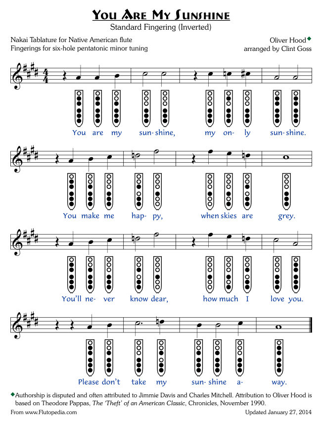 You Are My Sunshine - Standard Fingerings - Six-hole Pentatonic Minor (Inverted Fingerings)