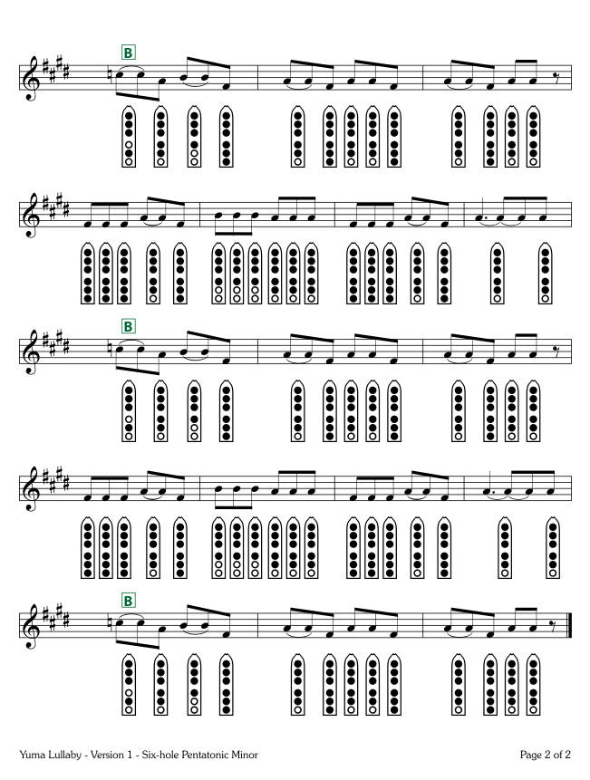 Yuma Lullaby - Version 1 - six-hole Pentatonic Minor