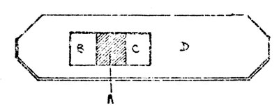 Figure 2. Detail of flue (with block removed) to show position of thin wooden plate over the partition and two air-holes
