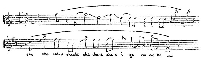 Figure 1. Opening phrases of Menominee flageolet melody (2) -top- and Sioux vocal love song (33) -bottom
