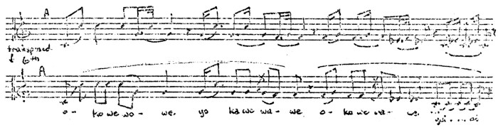 Figure 3. Sioux flageolet melody (9) -top- and Sioux vocal melody (38) -bottom