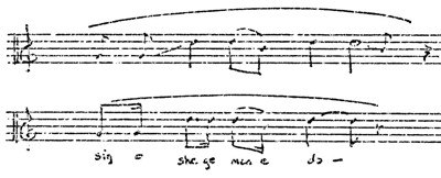 Figure 4. Opening phrase of Chippewa flageolet melody (1) -top- and Chippewa vocal melody (27) -bottom