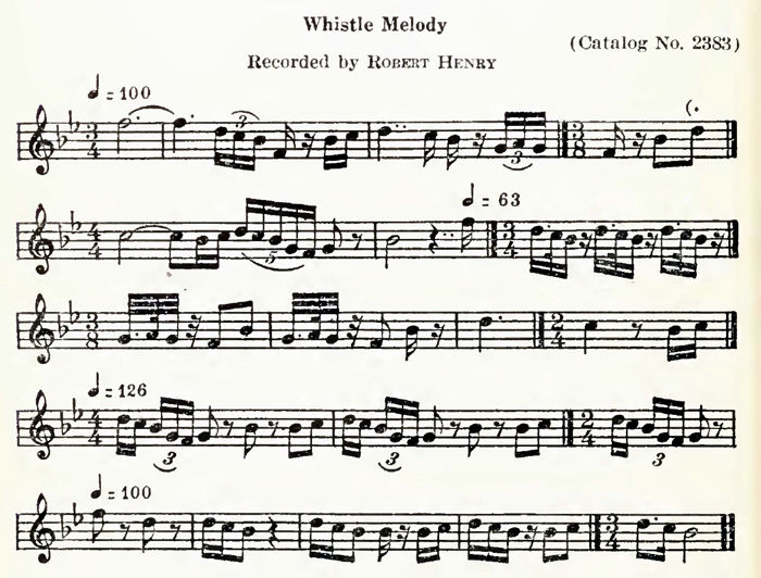 Transcription of Whistle Melody by Frances Densmore