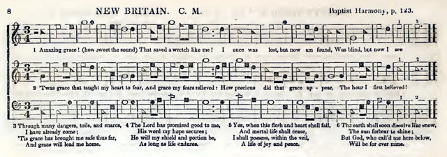 New Britain melody paired with John Newton's Amazing Grace lyrics